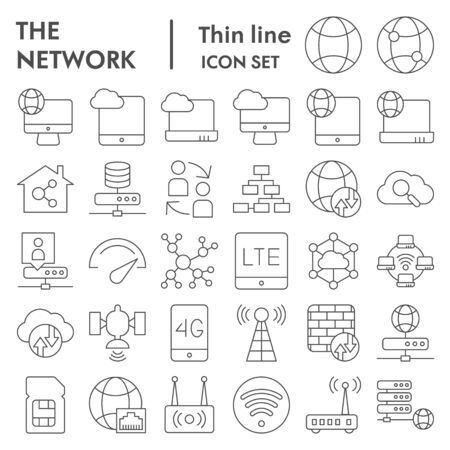 Network thin line icon set, internet symbols collection, vector sketches, illustrations, computer web signs linear pictograms package isolated on white background Illusztráció