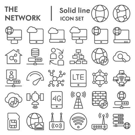 Network line icon set, internet symbols collection, vector sketches, illustrations, computer web signs linear pictograms package isolated on white background