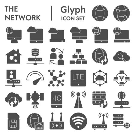Network glyph icon set, internet symbols collection, vector sketches, illustrations, computer web signs solid pictograms package isolated on white background