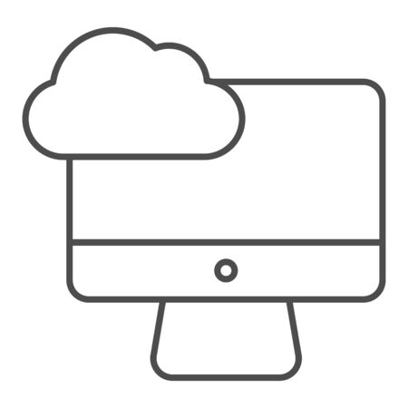 Desktop cloud computing thin line icon. Synchronize cloud on pc vector illustration isolated on white. Data cloud on device outline style design, designed for web and app. Ilustrace