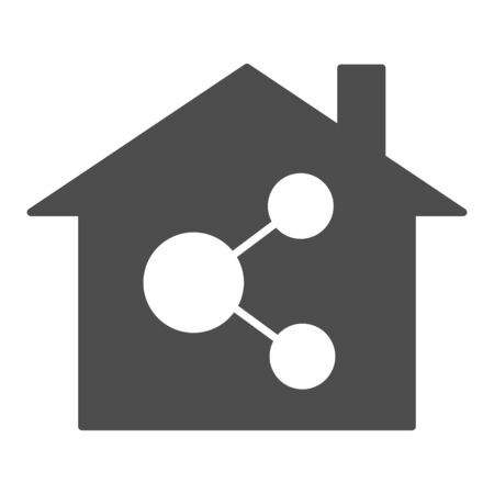 Home network solid icon. Internet and house vector illustration isolated on white. Network in building glyph style design, designed for web and app. Ilustração