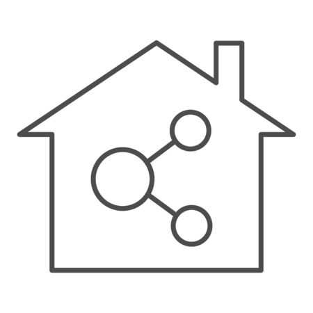 Home network thin line icon. Internet and house vector illustration isolated on white. Network in building outline style design, designed for web and app.
