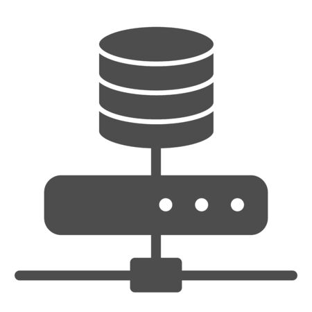 Data storage solid icon. Computer server vector illustration isolated on white. Database glyph style design, designed for web and app. Çizim