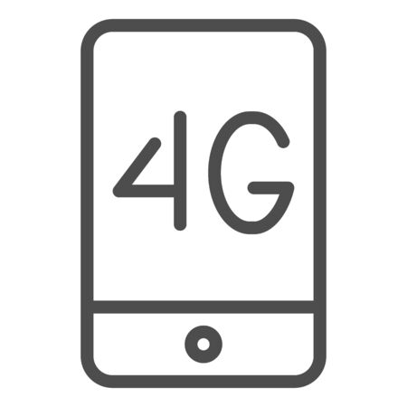Mobile phone with 4g line icon. 4g smartphone vector illustration isolated on white. Phone network outline style design, designed for web and app.