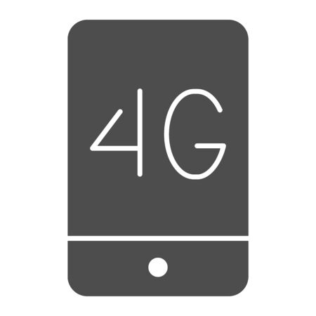 Mobile phone with 4g solid icon. 4g smartphone vector illustration isolated on white. Phone network glyph style design, designed for web and app.