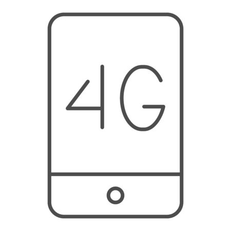 Mobile phone with 4g thin line icon. 4g smartphone vector illustration isolated on white. Phone network outline style design, designed for web and app. Stock Illustratie