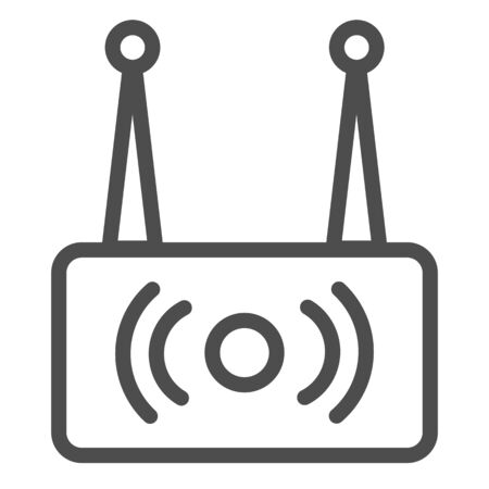 Wireless router line icon. Wi fi network vector illustration isolated on white. Wireless internet outline style design, designed for web and app. Reklamní fotografie - 132080352