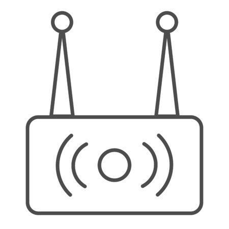 Wireless router thin line icon. Wi fi network vector illustration isolated on white. Wireless internet outline style design, designed for web and app.
