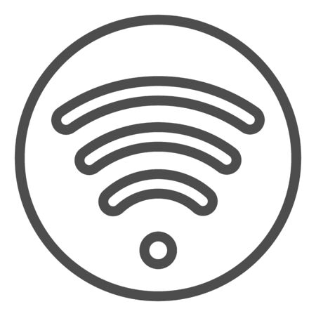 Wi fi line icon. Wireless network vector illustration isolated on white. Wireless internet outline style design, designed for web and app. Çizim