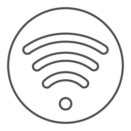 Wi fi thin line icon. Wireless network vector illustration isolated on white. Wireless internet outline style design, designed for web and app.
