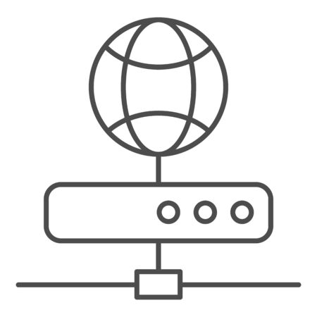 Server thin line icon. Network storage vector illustration isolated on white. Datacenter outline style design, designed for web and app.