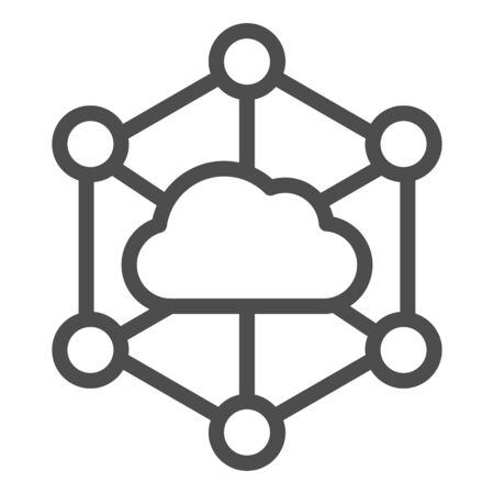 Data cloud line icon. Computer storage vector illustration isolated on white. Datacenter outline style design, designed for web and app. Ilustrace