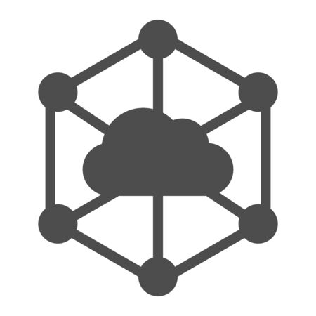 Data cloud solid icon. Computer storage vector illustration isolated on white. Datacenter glyph style design, designed for web and app. Reklamní fotografie - 132077250