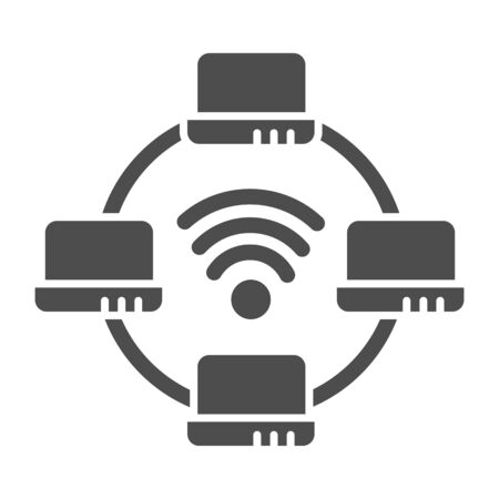 Computer network solid icon. Laptop networking vector illustration isolated on white. Social network glyph style design, designed for web and app.