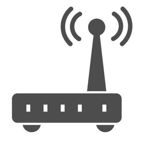 Router solid icon. Wi fi vector illustration isolated on white. Wireless network glyph style design, designed for web and app. Stock Illustratie
