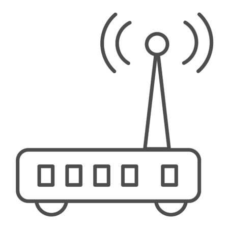 Router thin line icon. Wi fi vector illustration isolated on white. Wireless network outline style design, designed for web and app.