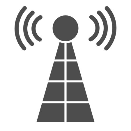Antenna with signals solid icon. Radio tower vector illustration isolated on white. Radar glyph style design, designed for web and app.