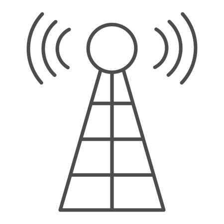 Antenna with signals thin line icon. Radio tower vector illustration isolated on white. Radar outline style design, designed for web and app. Banque d'images - 132076802