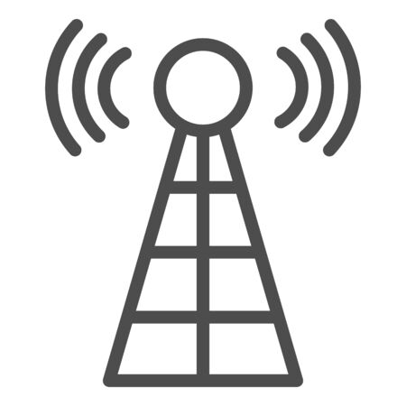 Antenna with signals line icon. Radio tower vector illustration isolated on white. Radar outline style design, designed for web and app.