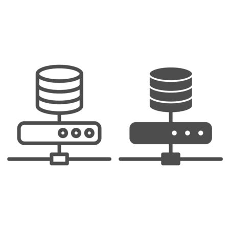 Data storage line and glyph icon. Computer server vector illustration isolated on white. Database outline style design, designed for web and app. Çizim