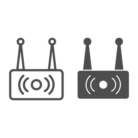Wireless router line and glyph icon. Wi fi network vector illustration isolated on white. Wireless internet outline style design, designed for web and app. Ilustrace