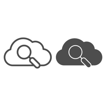 Search in cloud line and glyph icon. Data searching vector illustration isolated on white. Cloud with lens outline style design, designed for web and app. Çizim