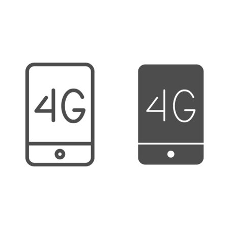Mobile phone with 4g line and glyph icon. 4g smartphone vector illustration isolated on white. Phone network outline style design, designed for web and app.