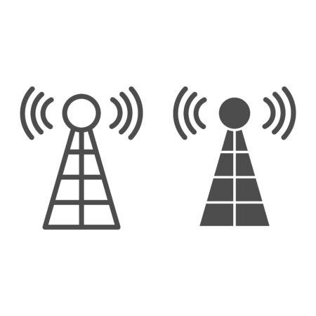 Antenna with signals line and glyph icon. Radio tower vector illustration isolated on white. Radar outline style design, designed for web and app. Eps 10.