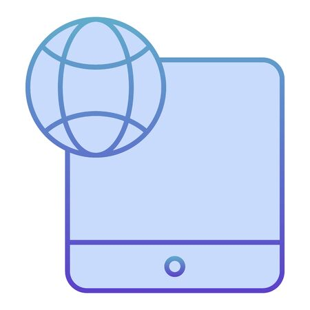 Digital tablet and globe flat icon. Touch screen tablet blue icons in trendy flat style. Network on device gradient style design, designed for web and app. Eps 10.