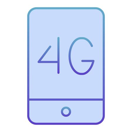 Mobile phone with 4g flat icon. 4g smartphone blue icons in trendy flat style. Phone network concept gradient style design, designed for web and app. Eps 10.