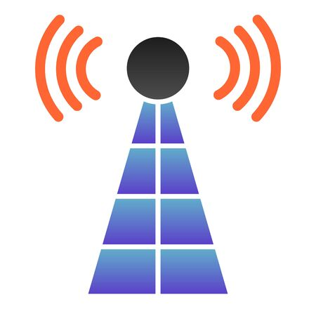 Antenna with signals flat icon. Radio tower color icons in trendy flat style. Radar gradient style design, designed for web and app. Eps 10. Banque d'images - 132070834