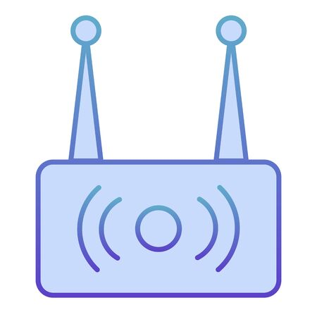 Wireless router flat icon. Wi fi network blue icons in trendy flat style. Wireless internet gradient style design, designed for web and app. Eps 10. Stock Illustratie