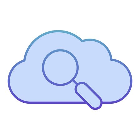 Search in cloud flat icon. Data searching blue icons in trendy flat style. Cloud with lens gradient style design, designed for web and app. Eps 10.