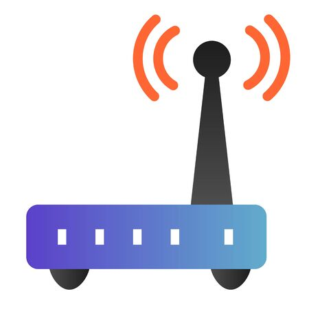 Router flat icon. Wi fi color icons in trendy flat style. Wireless network gradient style design, designed for web and app. Eps 10. Stock Illustratie