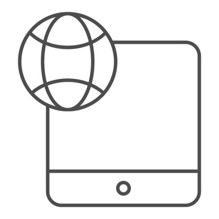 Digital tablet and globe thin line icon. Touch screen tablet vector illustration isolated on white. Network on device outline style design, designed for web and app. Eps 10.