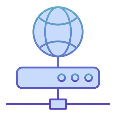 Server flat icon. Network storage blue icons in trendy flat style. Datacenter gradient style design, designed for web and app. Eps 10 Çizim