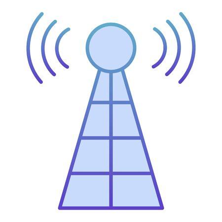 Antenna with signals flat icon. Radio tower blue icons in trendy flat style. Radar gradient style design, designed for web and app. Eps 10 Banque d'images - 132066372
