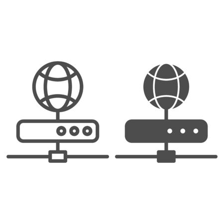 Server line and glyph icon. Network storage vector illustration isolated on white. Datacenter outline style design, designed for web and app. Eps 10