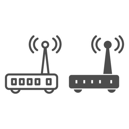 Router line and glyph icon. Wi fi vector illustration isolated on white. Wireless network outline style design, designed for web and app. Eps 10