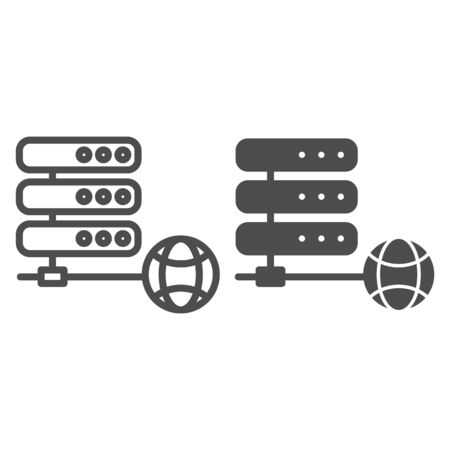 Server line and glyph icon. Data storage vector illustration isolated on white. Computer storage outline style design, designed for web and app. Eps 10