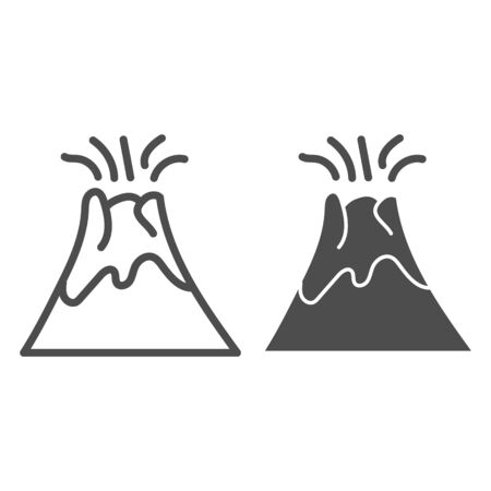 Volcano line and glyph icon. Magma erupting vector illustration isolated on white. Nature outline style design, designed for web and app.