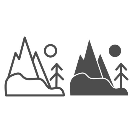 Mountain peak line and glyph icon. Hills vector illustration isolated on white. Nature outline style design, designed for web and app. Illusztráció