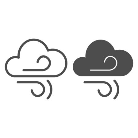 Wind and cloud line and glyph icon. Air blowing vector illustration isolated on white. Windy climate outline style design, designed for web and app.