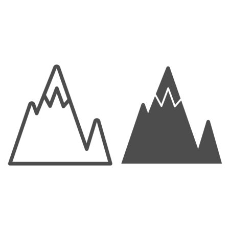 Mountain peak line and glyph icon. Mountains vector illustration isolated on white. Landscape outline style design, designed for web and app.