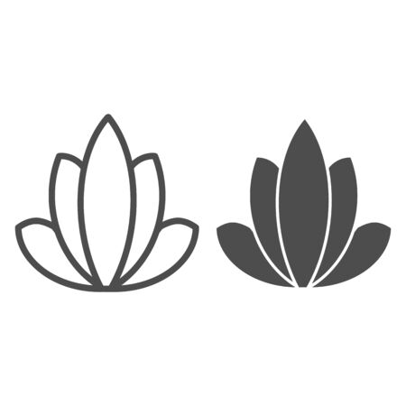 Lotus line and glyph icon. Flower vector illustration isolated on white. Nature outline style design, designed for web and app. Illusztráció