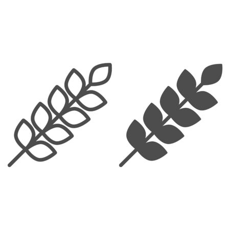 Wheat ears line and glyph icon. Agriculture vector illustration isolated on white. Plant outline style design, designed for web and app.