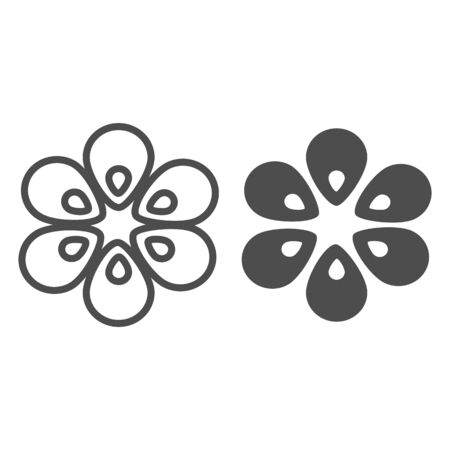 Six petal flower line and glyph icon. Floral vector illustration isolated on white. Plant outline style design, designed for web and app.