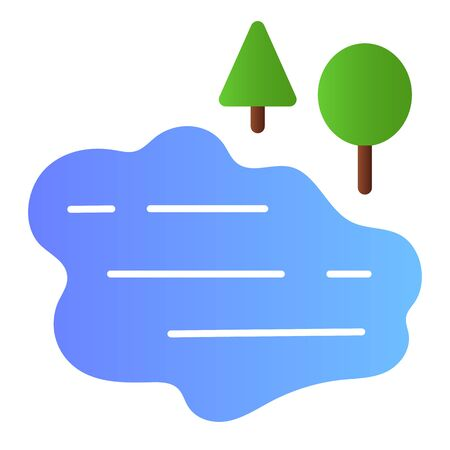 Lake and trees flat icon. Water color icons in trendy flat style. Nature gradient style design, designed for web and app.
