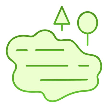 Lake and trees flat icon. Water green icons in trendy flat style. Nature gradient style design, designed for web and app.