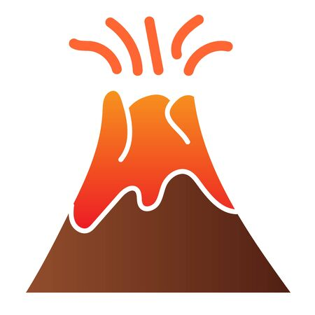 Volcano flat icon. Magma erupting color icons in trendy flat style. Nature gradient style design, designed for web and app.